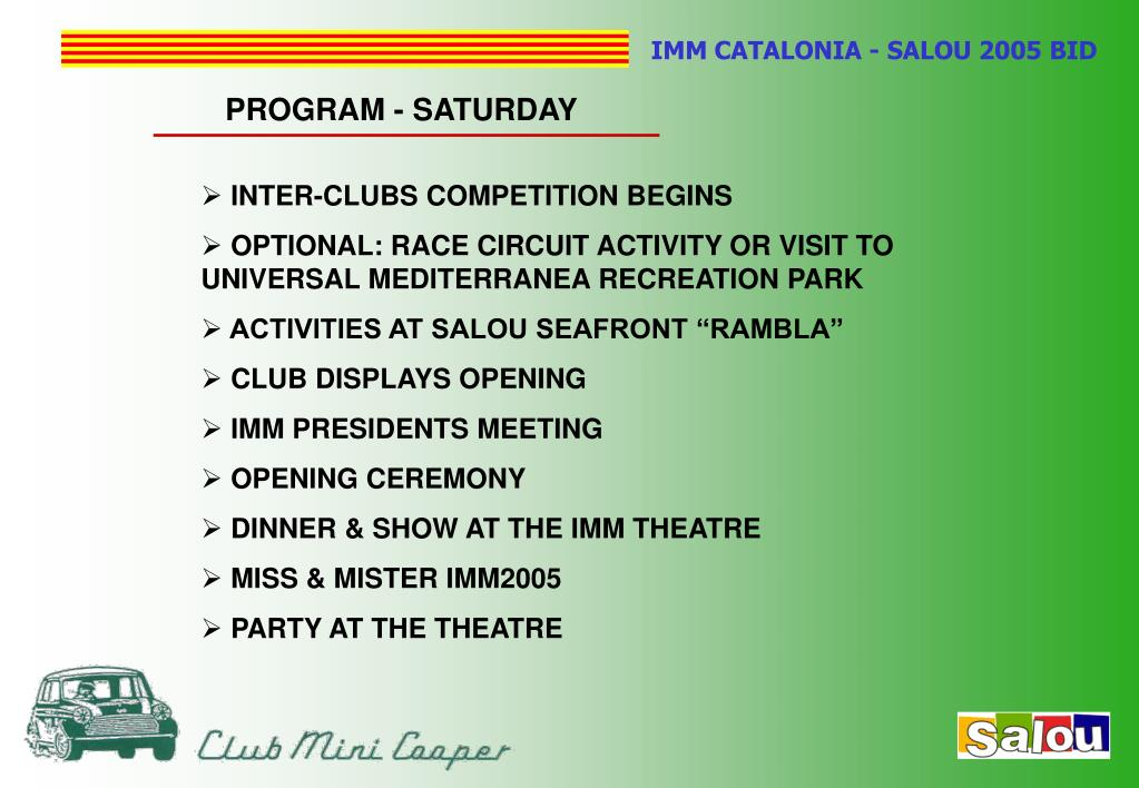 PROGRAM - SATURDAY