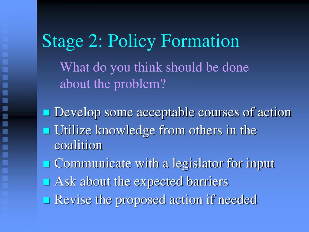 Stage 2: Policy Formation