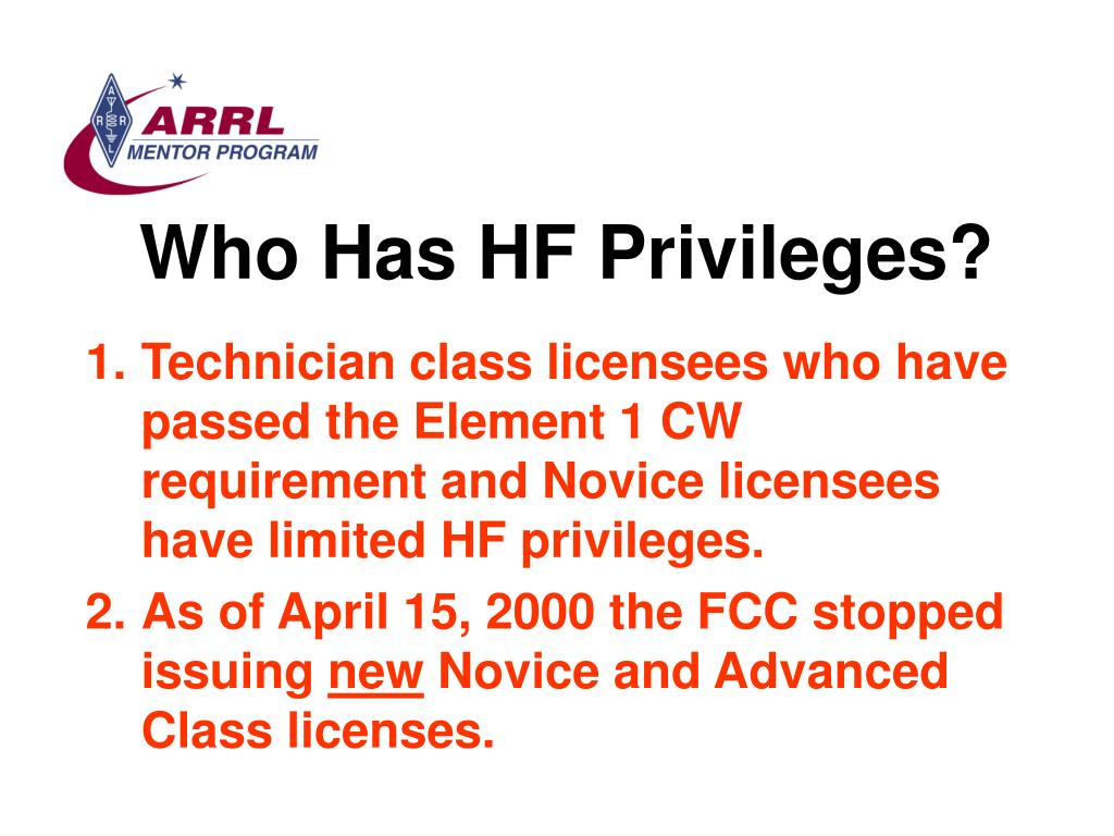 Who Has HF Privileges?