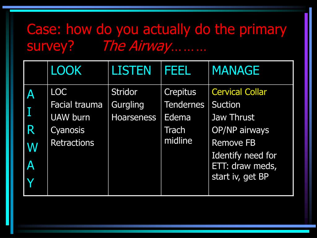 Case: how do you actually do the primary survey?