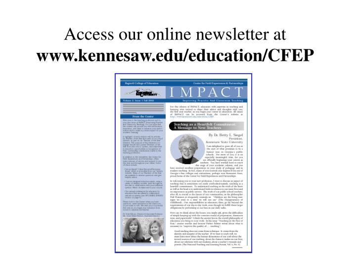 Access our online newsletter at