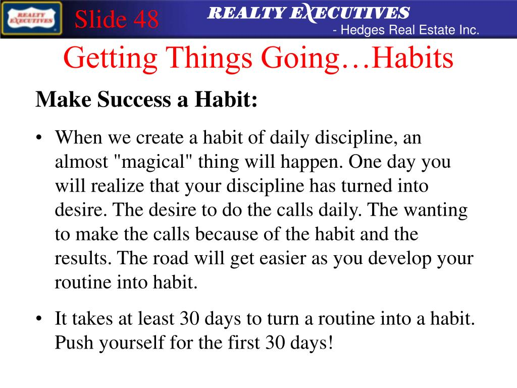 Getting Things Going…Habits