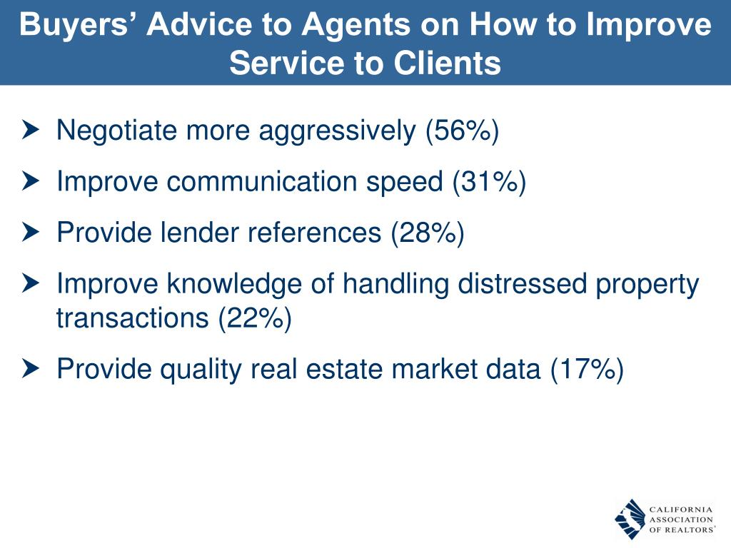 Buyers' Advice to Agents on How to Improve Service to Clients