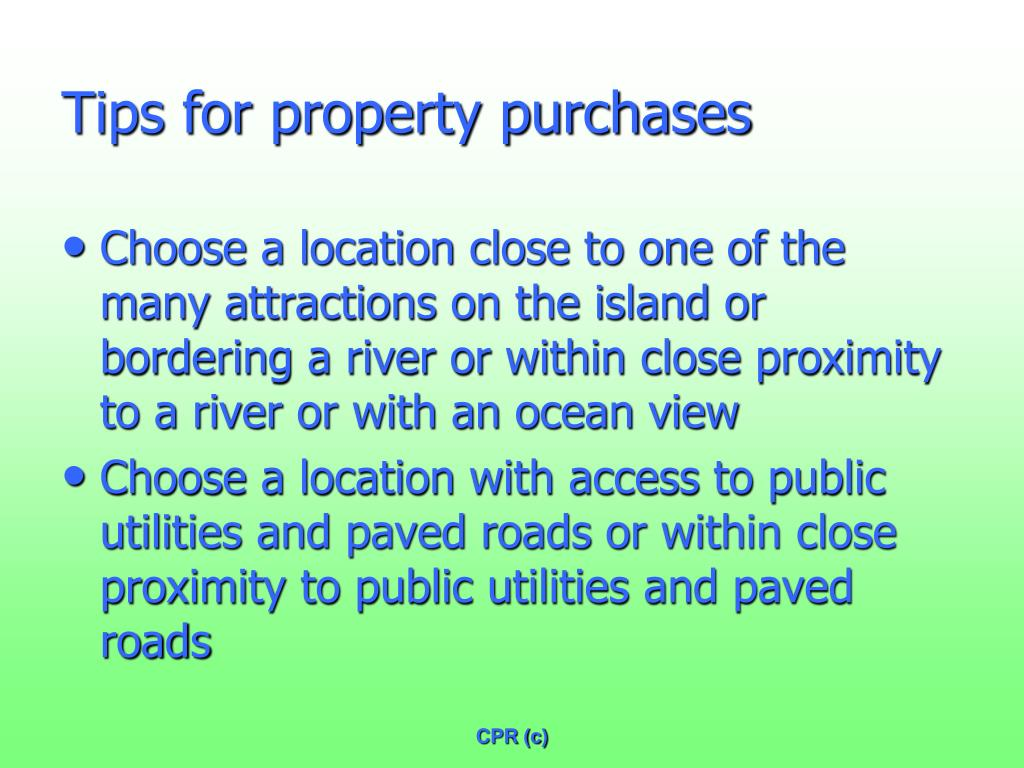 Tips for property purchases