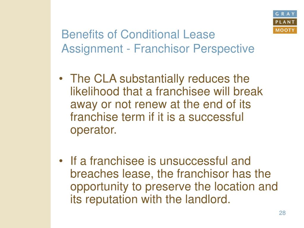 Benefits of Conditional Lease Assignment - Franchisor Perspective