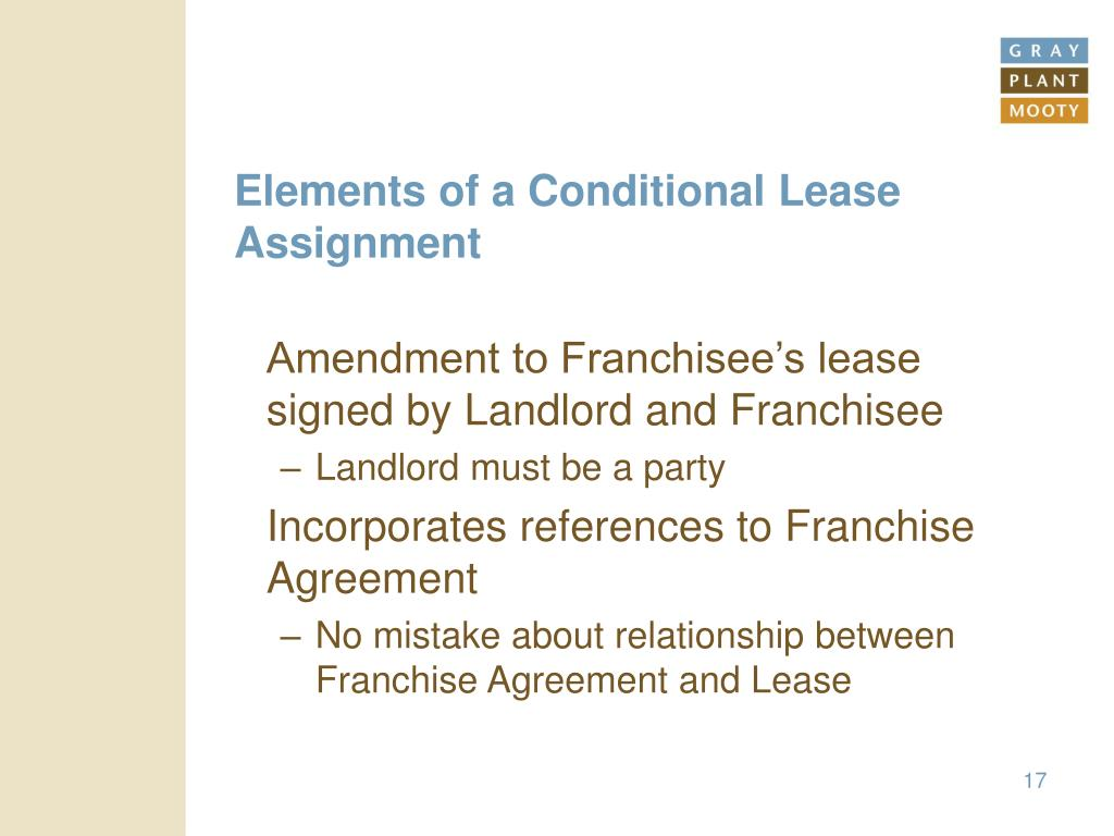 Elements of a Conditional Lease Assignment