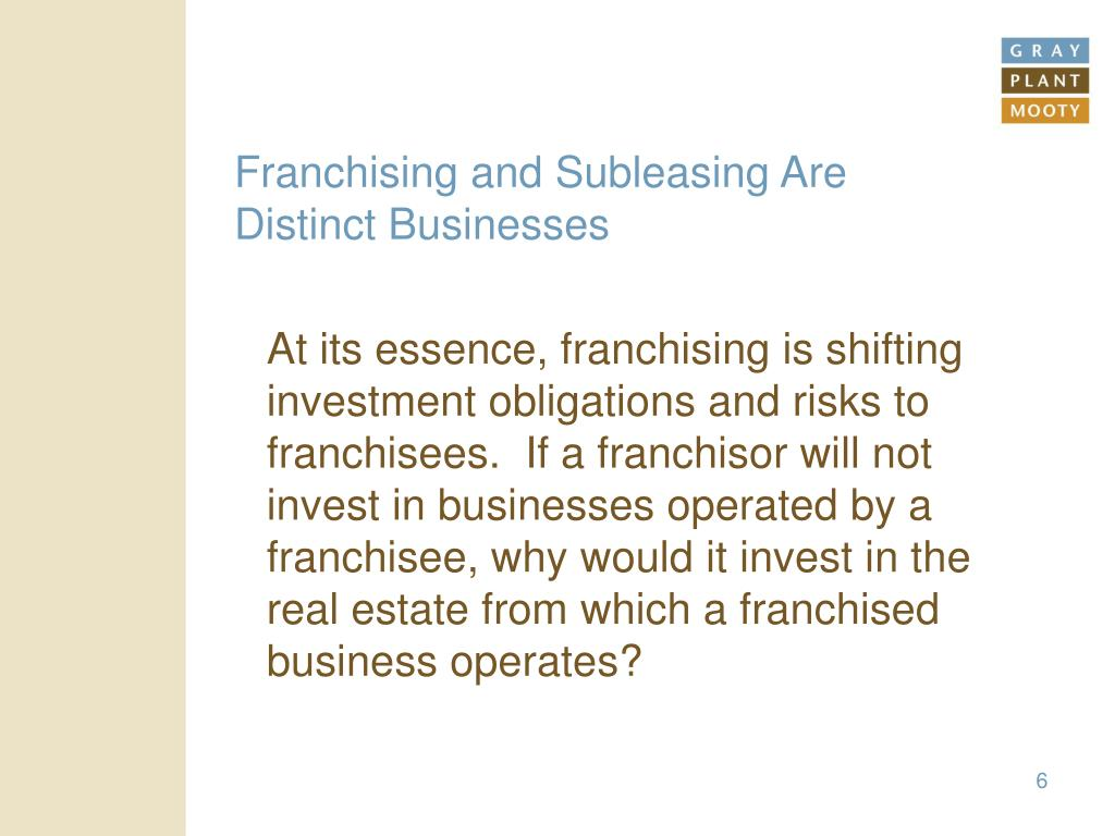 Franchising and Subleasing Are Distinct Businesses
