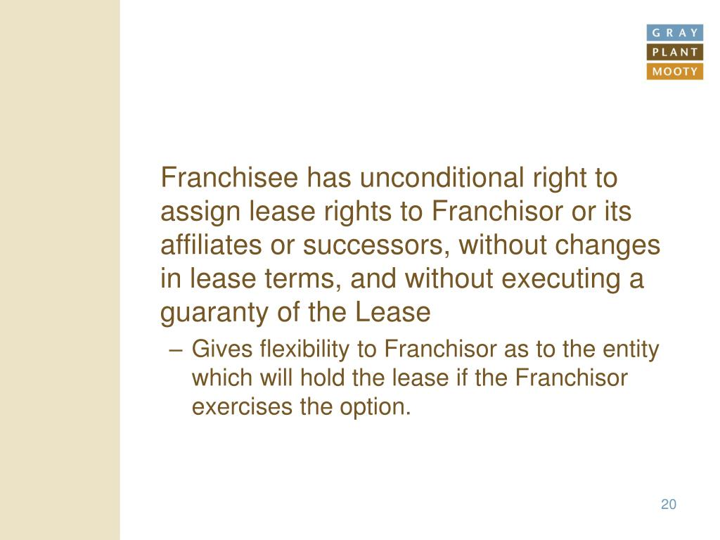 Franchisee has unconditional right to assign lease rights to Franchisor or its affiliates or successors, without changes in lease terms, and without executing a guaranty of the Lease