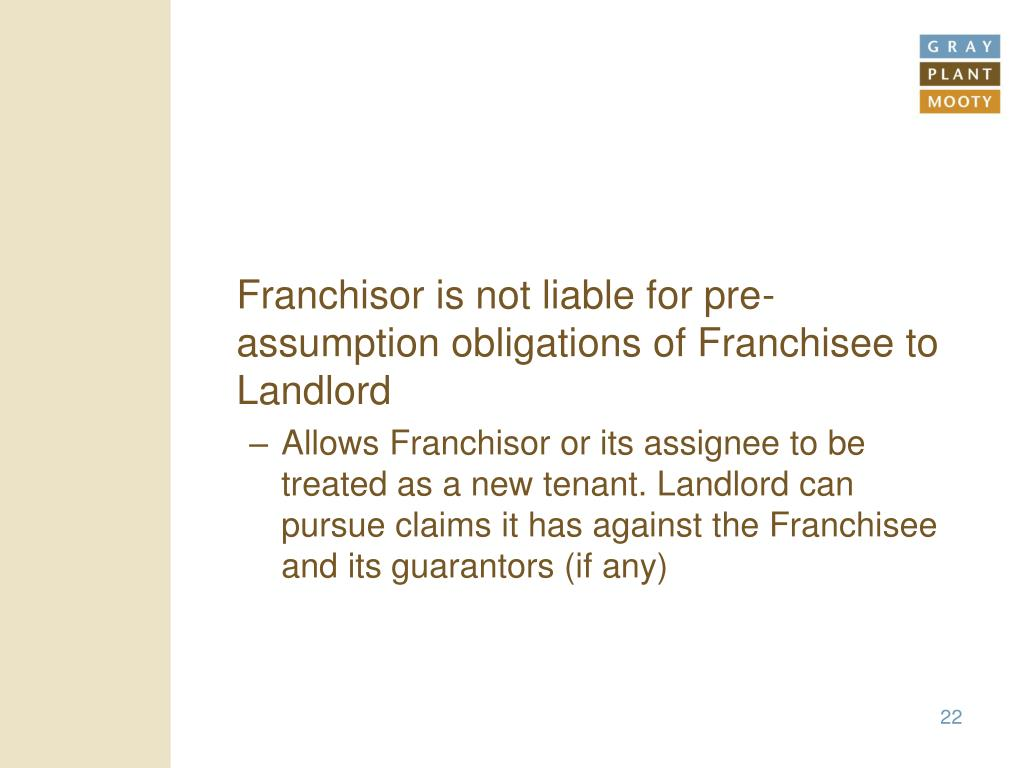 Franchisor is not liable for pre-assumption obligations of Franchisee to Landlord