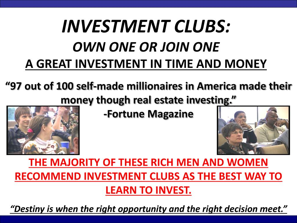 INVESTMENT CLUBS: