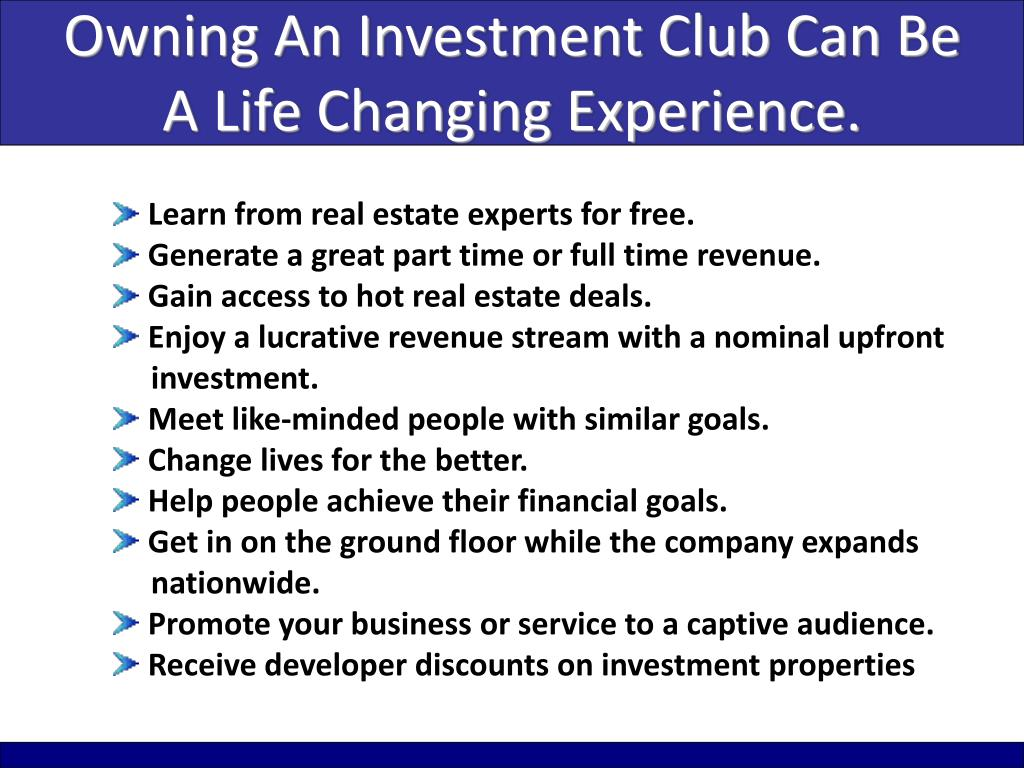 Owning An Investment Club Can Be