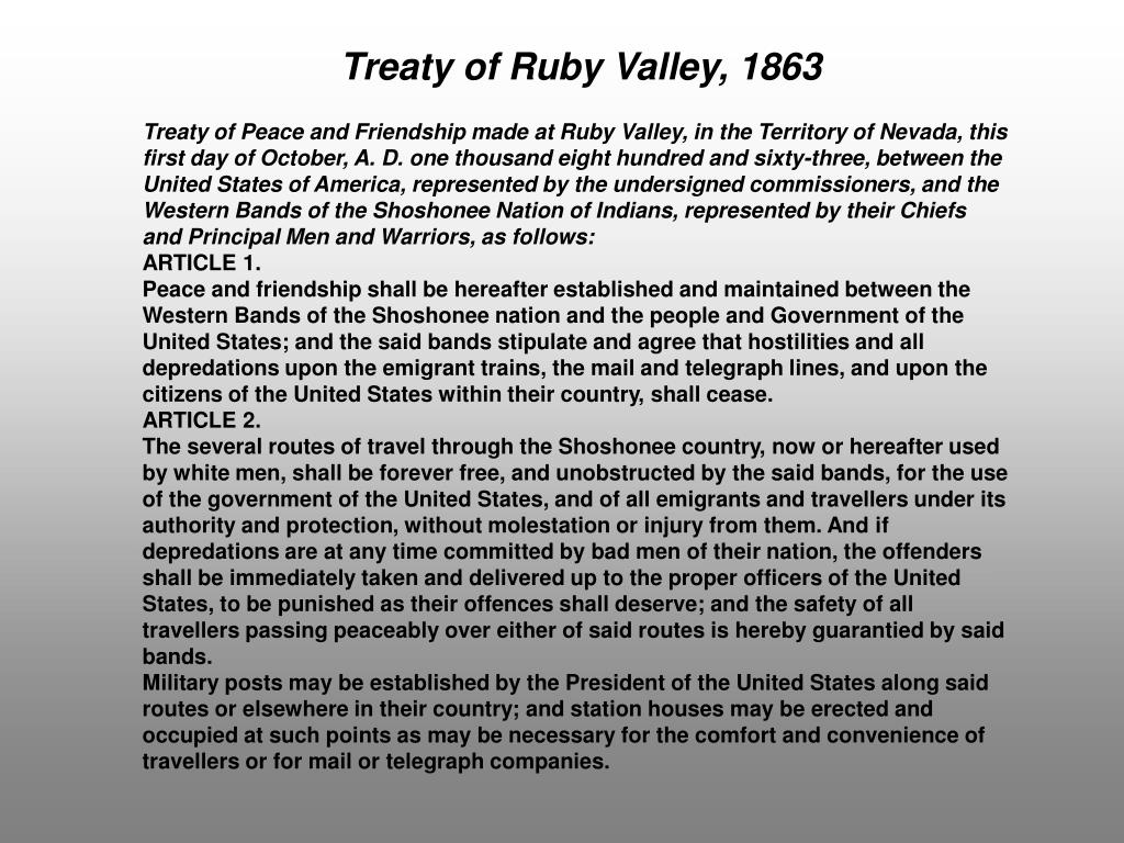 Treaty of Ruby Valley, 1863