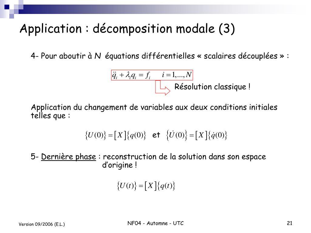 Application : décomposition modale (3)