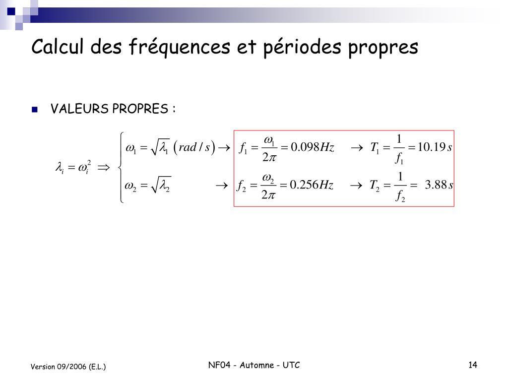 Calcul des fréquences et périodes propres
