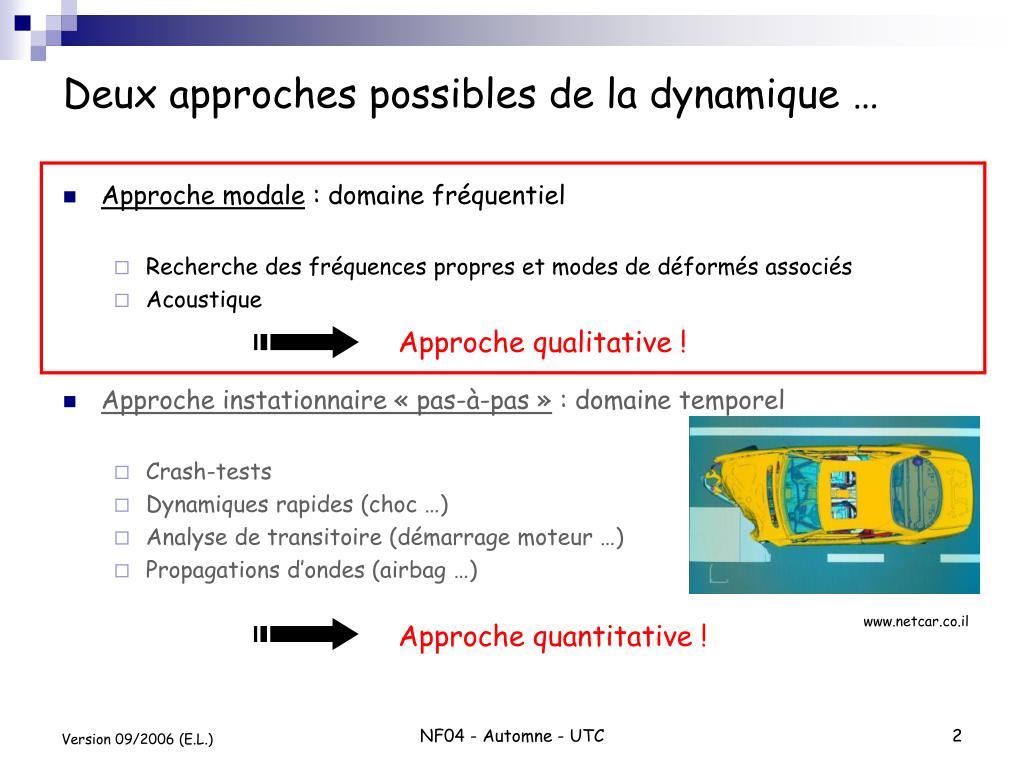 Deux approches possibles de la dynamique …