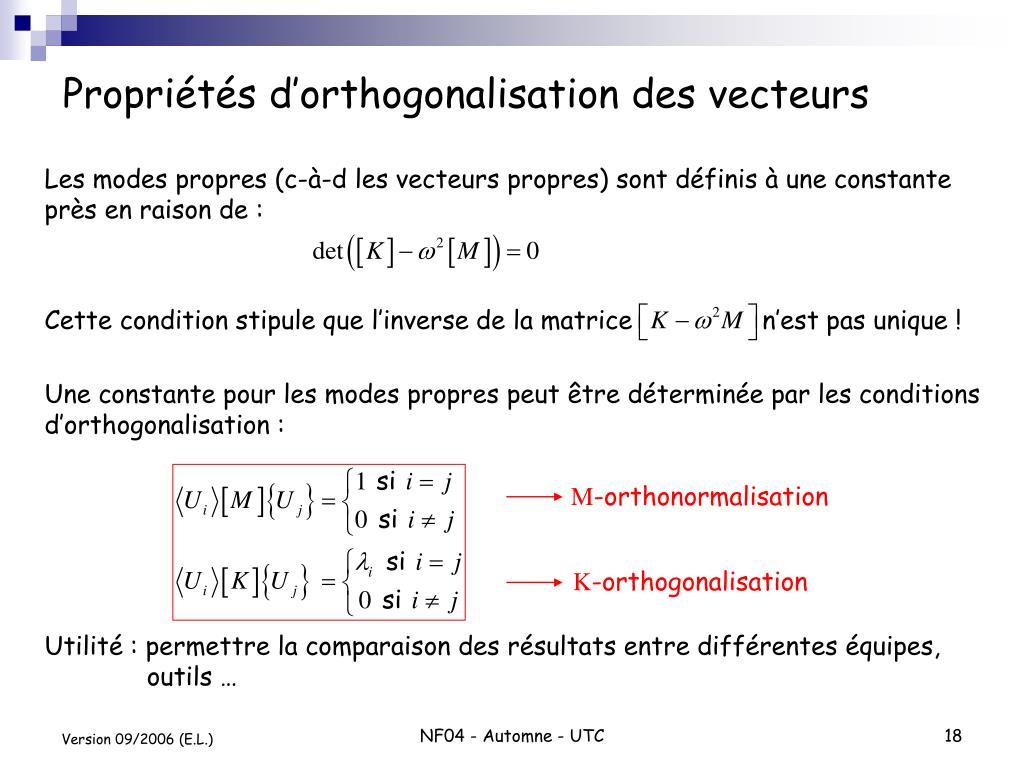Propriétés d'orthogonalisation des vecteurs