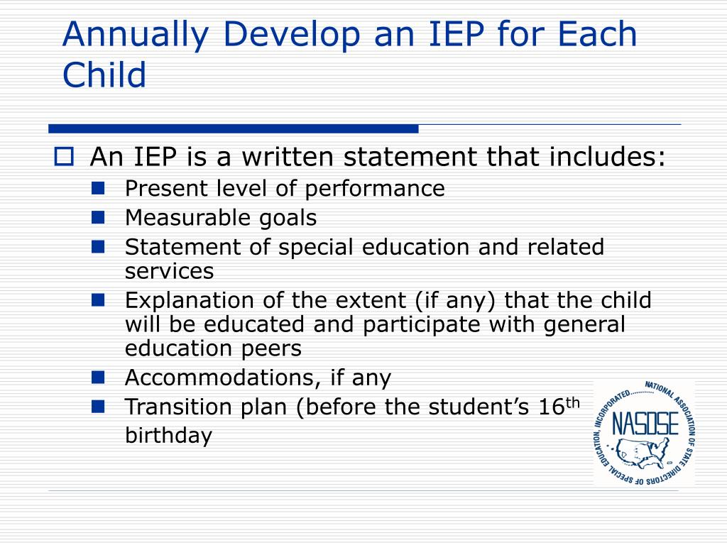 Annually Develop an IEP for Each Child