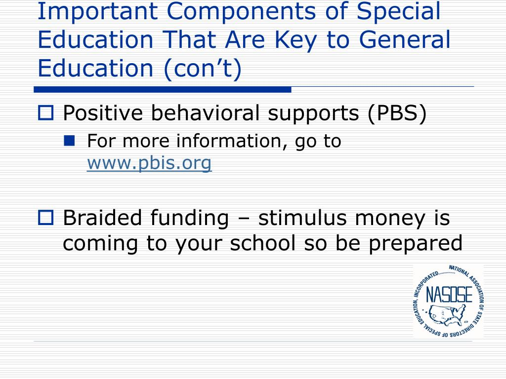 Important Components of Special Education That Are Key to General Education (con't)