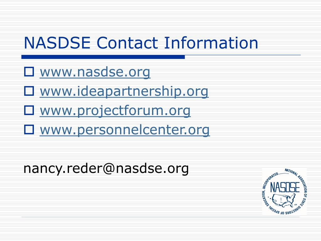 NASDSE Contact Information
