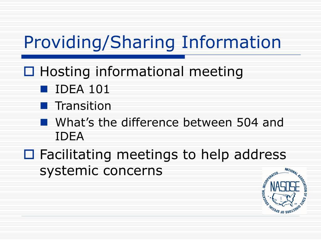 Providing/Sharing Information