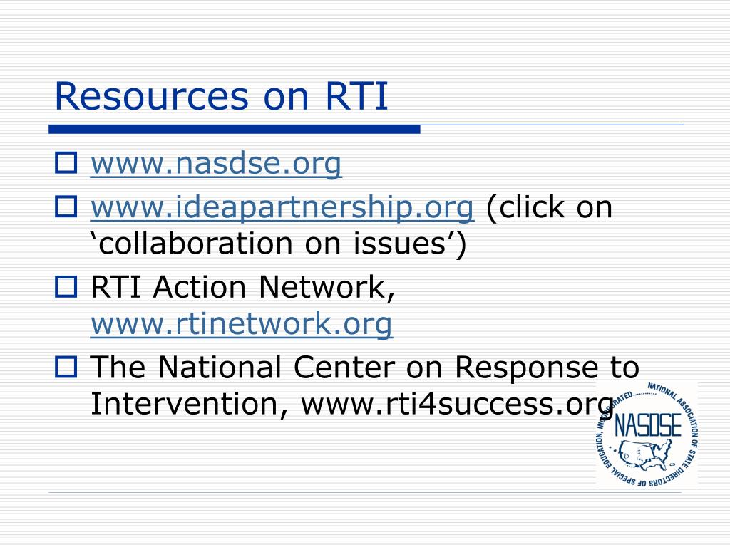 Resources on RTI