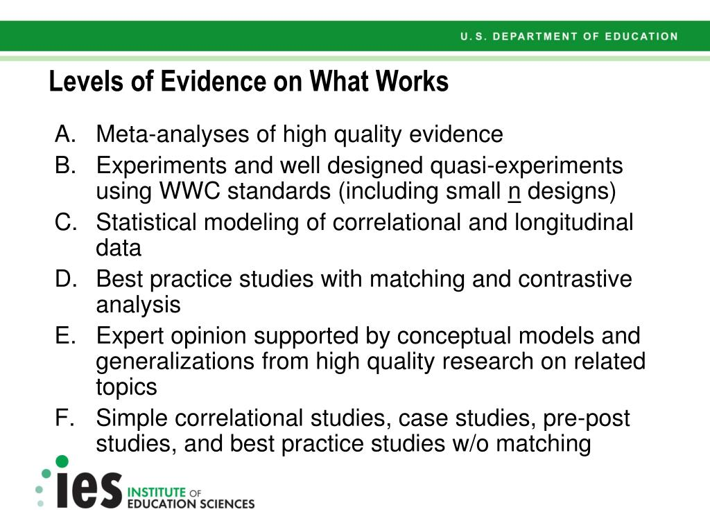 Levels of Evidence on What Works