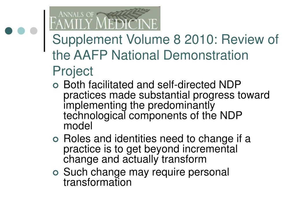 Supplement Volume 8 2010: Review of the AAFP National Demonstration Project