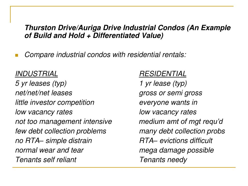 Thurston Drive/Auriga Drive Industrial Condos (An Example of Build and Hold + Differentiated Value)