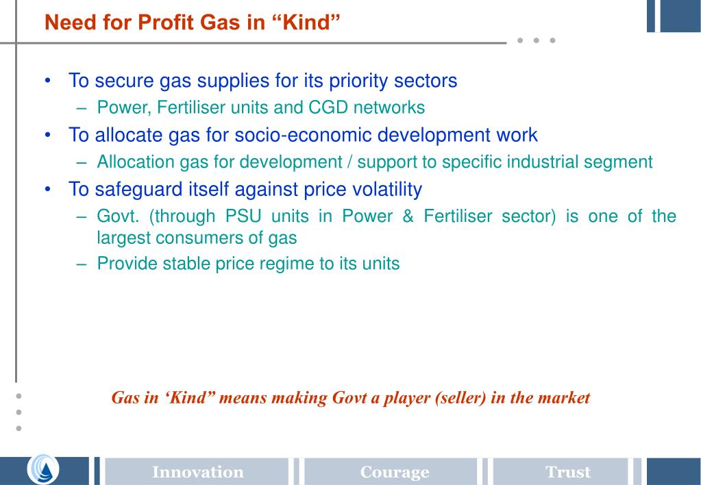 "Need for Profit Gas in ""Kind"""