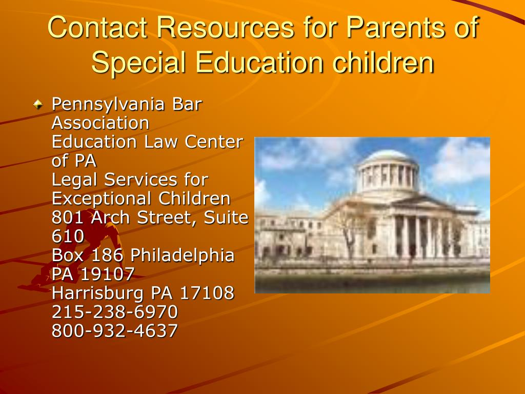 Contact Resources for Parents of Special Education children