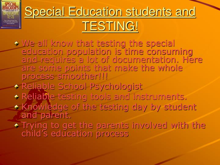 Special education students and testing