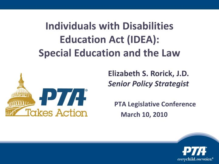 Individuals with disabilities education act idea special education and the law