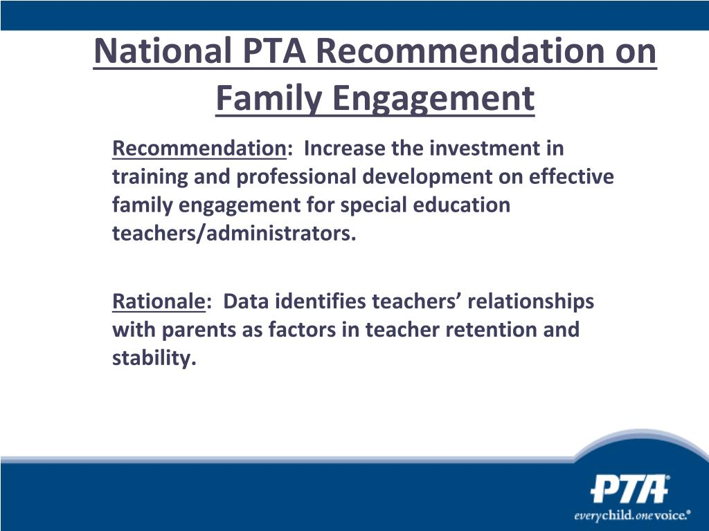 National PTA Recommendation on  Family Engagement