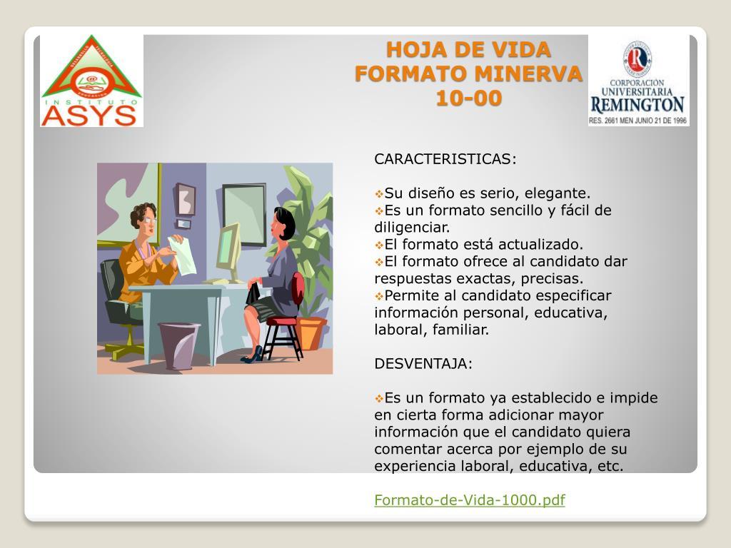 HOJA DE VIDA FORMATO MINERVA 10-00