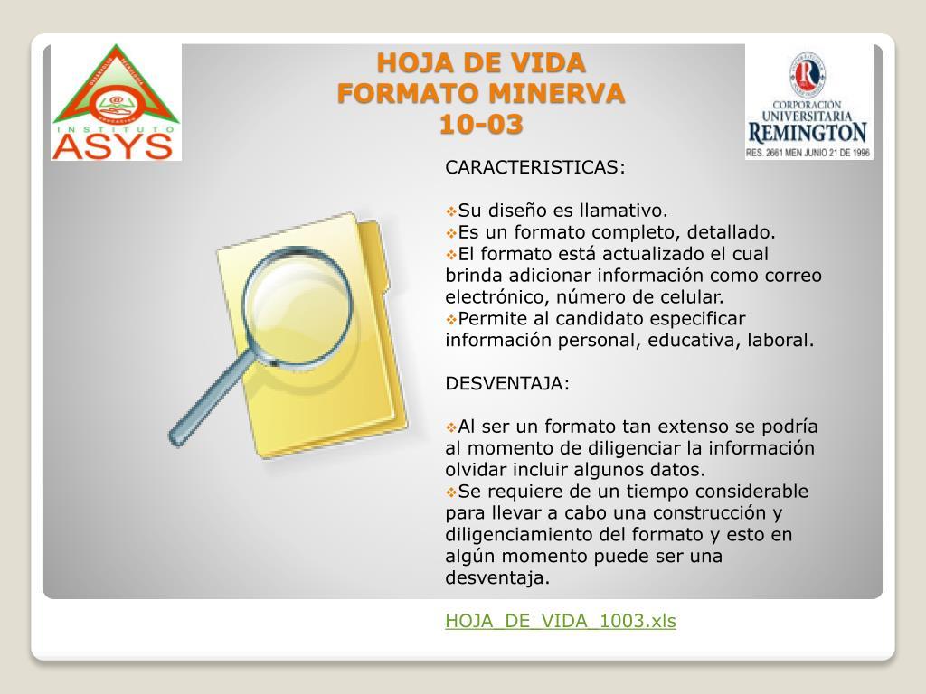 HOJA DE VIDA FORMATO MINERVA 10-03