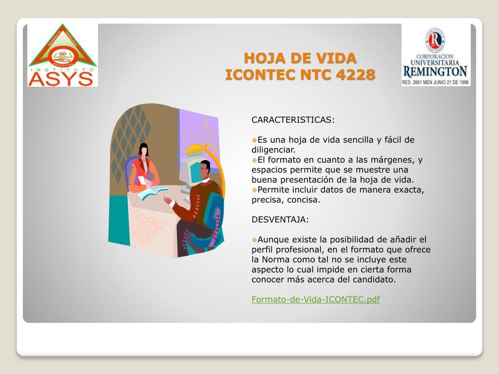 HOJA DE VIDA ICONTEC NTC 4228