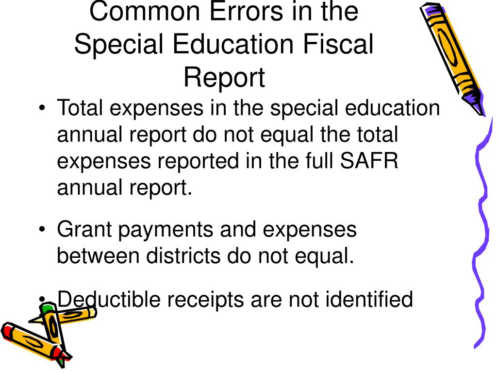 Common Errors in the Special Education Fiscal Report