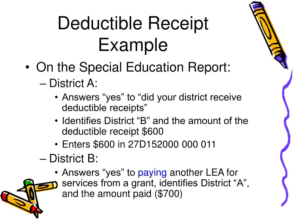 Deductible Receipt Example
