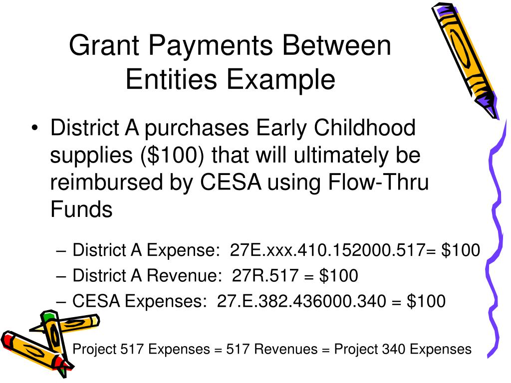 Grant Payments Between Entities Example