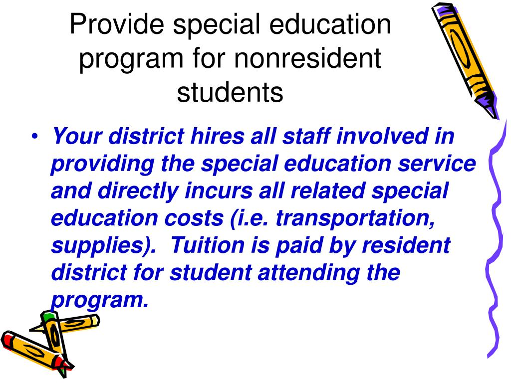 Provide special education program for nonresident students