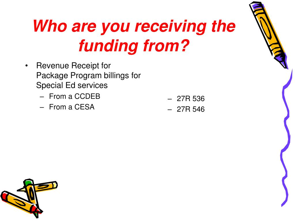 Revenue Receipt for Package Program billings for Special Ed services