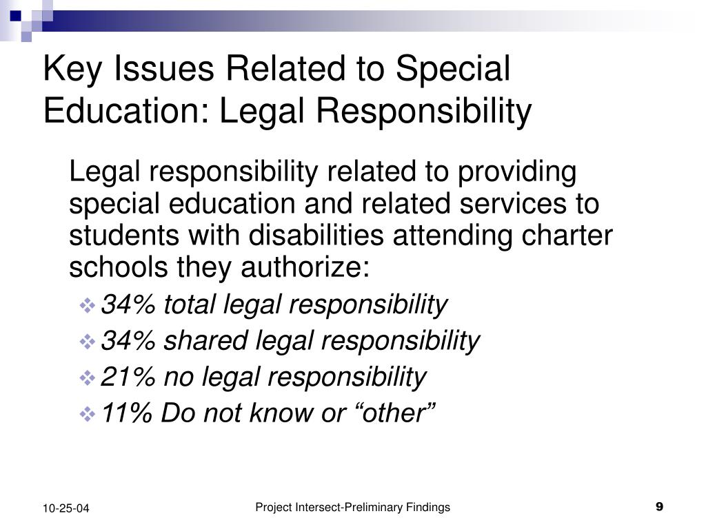 Key Issues Related to Special Education: Legal Responsibility