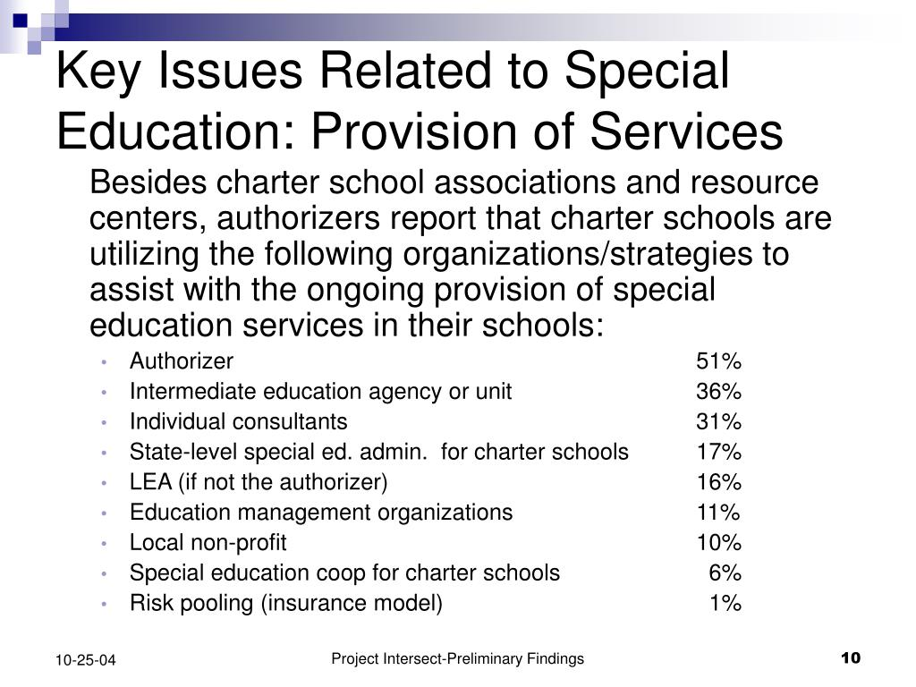 Key Issues Related to Special Education: Provision of Services
