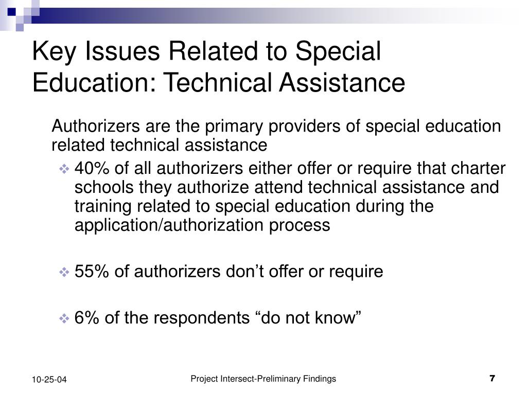 Key Issues Related to Special Education: Technical Assistance