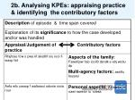 2b analysing kpes appraising practice identifying the contributory factors