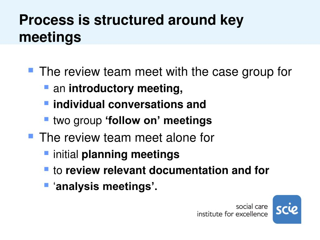 Process is structured around key meetings
