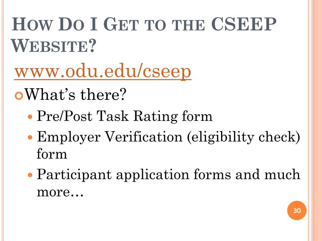 How Do I Get to the CSEEP Website?
