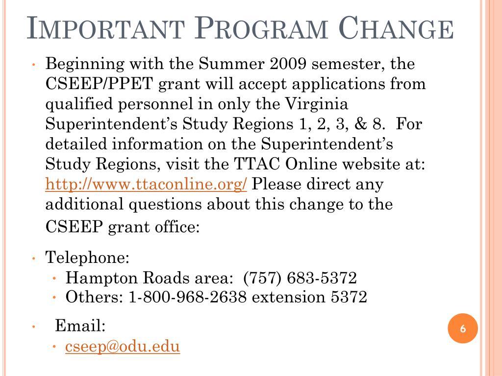 Important Program Change