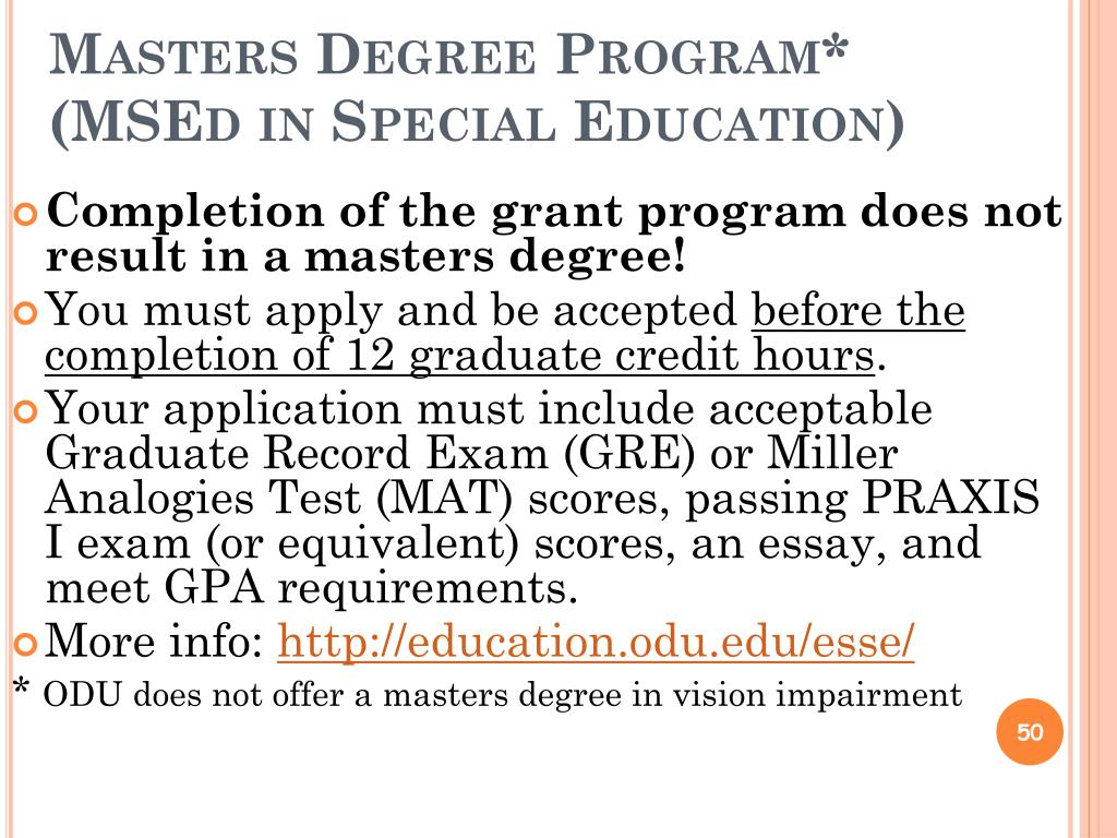 Masters Degree Program*