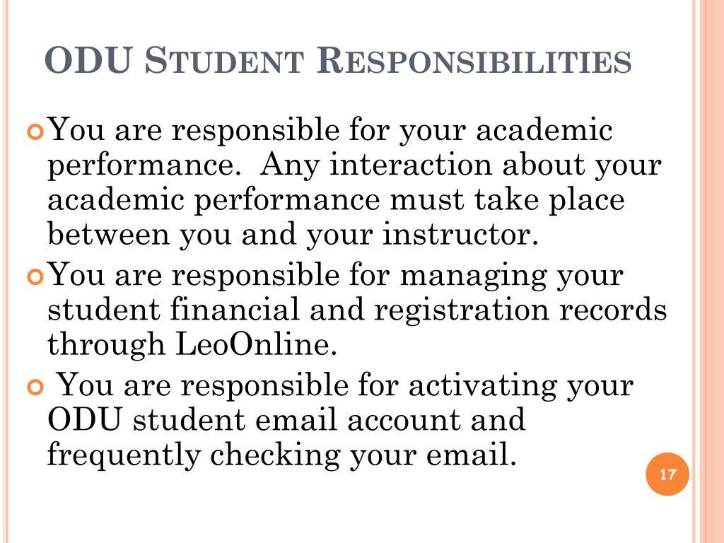 ODU Student Responsibilities